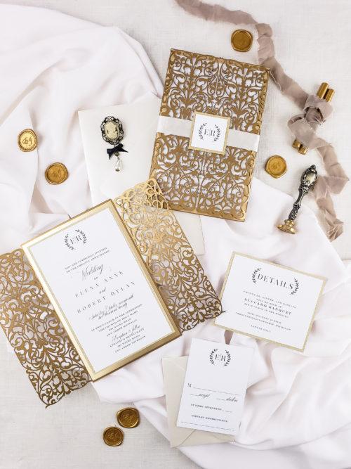 Gold wedding invitation elegant, elegant wedding invitations suite, laser cut invitation design luxury wedding invitations