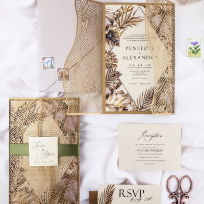 Tropical wedding invitation laser cut, laser cut wedding invitations with palm leaves, tropical laser cut wedding invites