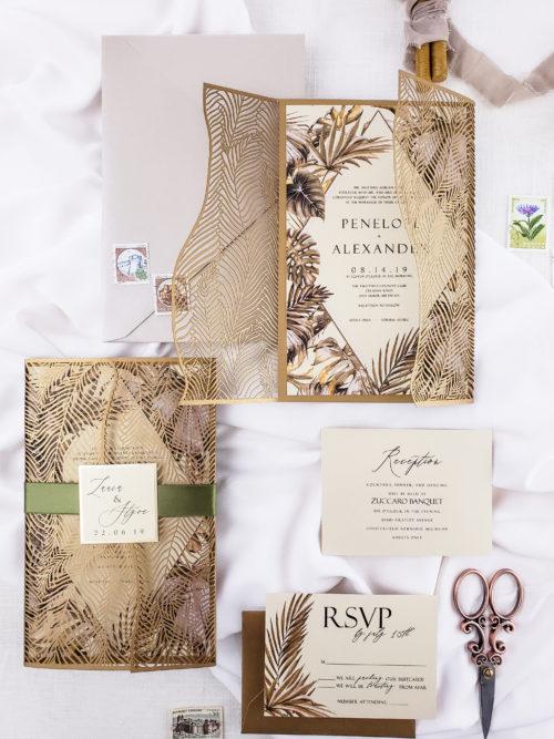Tropical wedding invitation laser cut, laser cut wedding invitations with palm leaves, tropical laser cut wedding invites