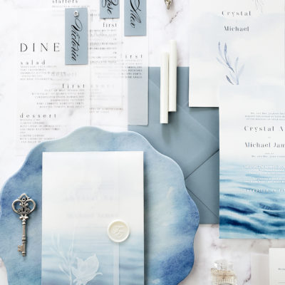 blue themed stationery and key