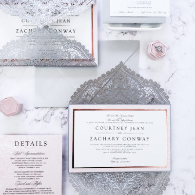 silver elegant wedding invitation laser cut sample, laser cut wedding invitations in silver and blush with rose gold