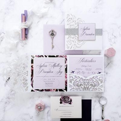 white laser cut pocket fold wedding invitation, pocketfold laser cut wedding invites, wedding invitation suite with laser cut