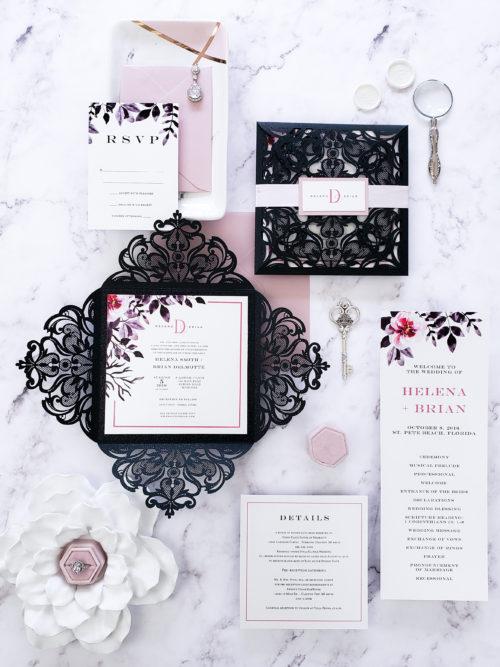 laser cut wedding invitation, lasercut invitation sample, invitation suite for wedding, blush wedding invitation card sample