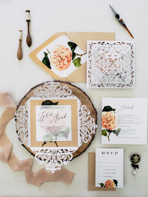 kraft rustic laser cut wedding invitations, rustic wedding invitation with kraft paper, floral rustic chic wedding invites