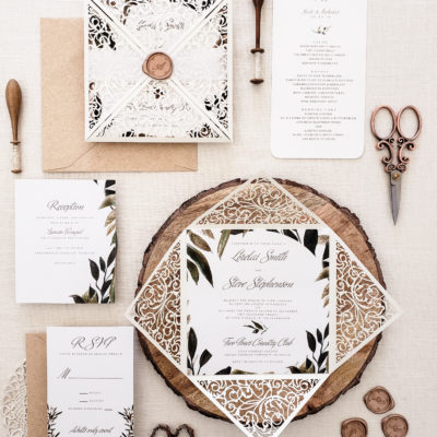 rustic chic wedding invitation sample, laser cut wedding invitation suite with greenery, wedding invitation laser cut card