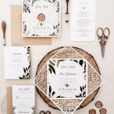rustic chic wedding invitation sample, laser cut wedding invitation suite with greenery, wedding invitation laser cut card