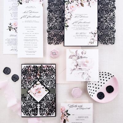 black laser cut wedding invites, laser cut wedding invitation suite with blush floral, botanical spring wedding invitation suite