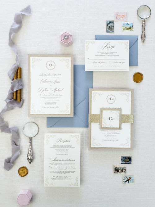 Elegant wedding invitation gold and ivory, neutral wedding invite suite, elegant wedding invitation card gold and taupe