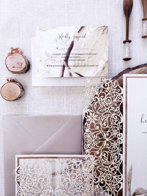 rustic laser wedding invitation