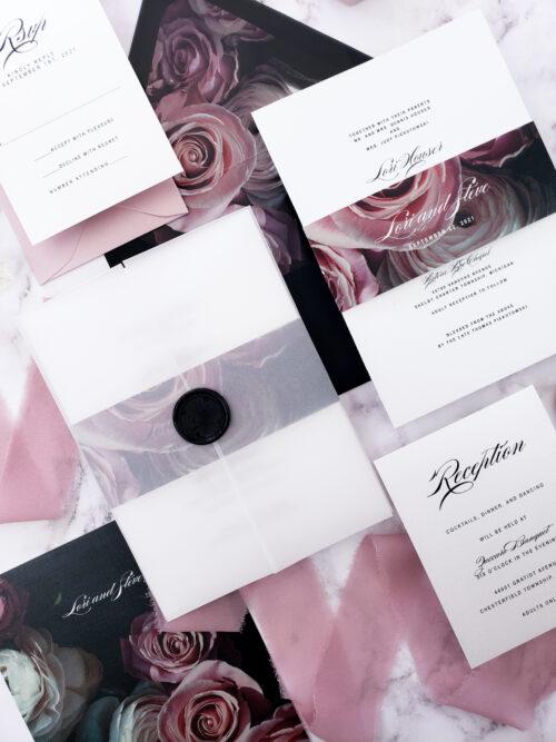 moody vellum wedding invitation