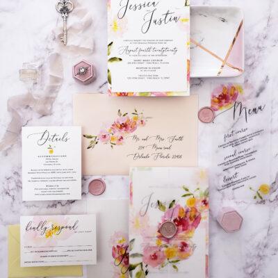 pastel-colored invitations with colored border