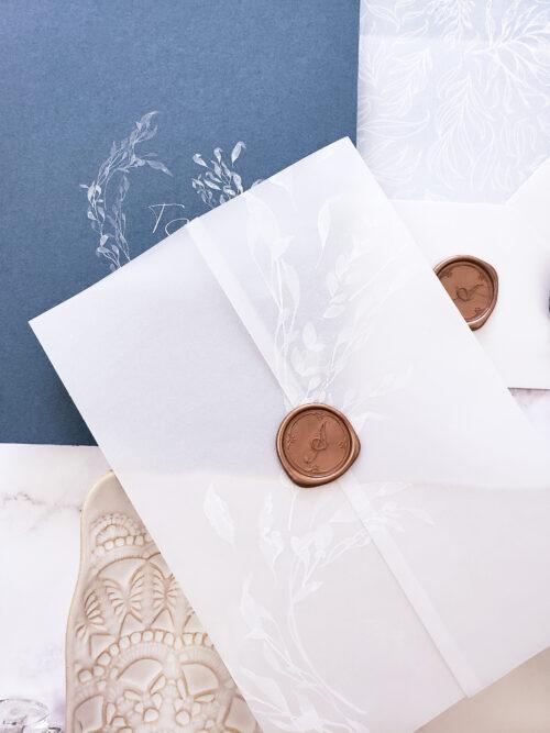 vellum wax seal wedding invitation