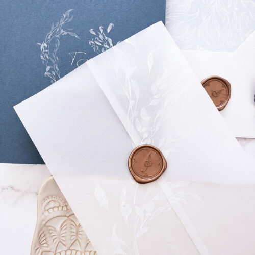 vellum wax seal wedding invitation