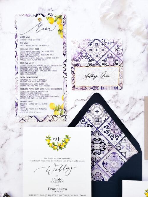 mediterranean vellum wedding invitation