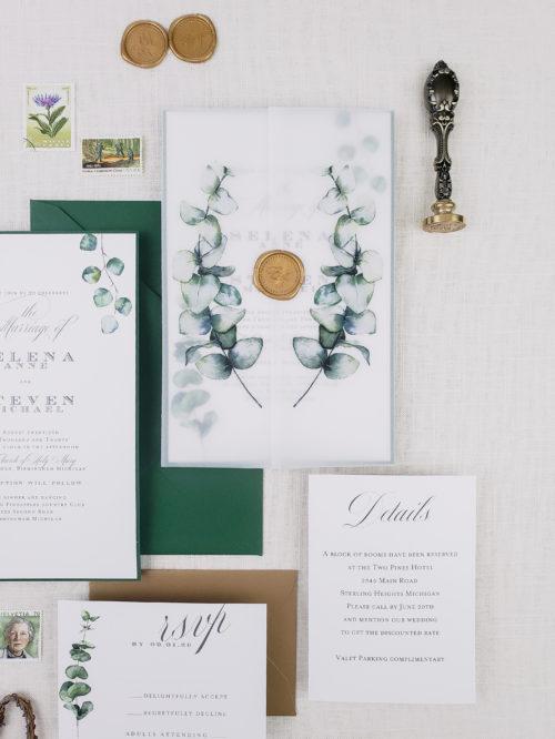 vellum and wax seal wedding invitations