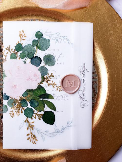 floral vellum wrap wedding invitations