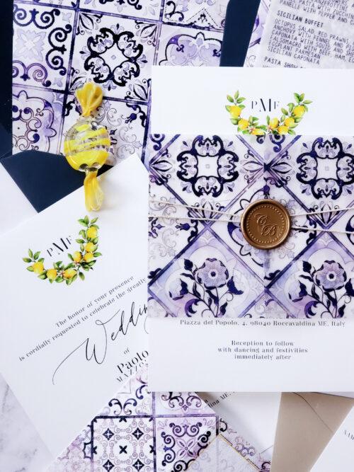 italian vellum wedding invitation