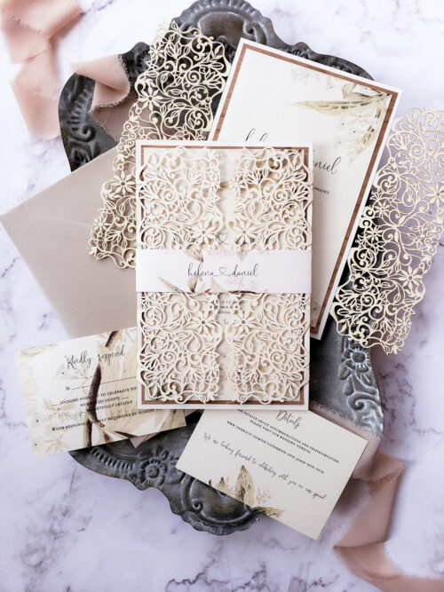 rustic wedding invitations, laser cut invitation suite, wedding invitation laser cut with greenery and floral