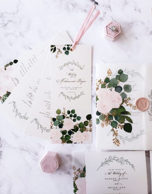 floral vellum wedding invitations