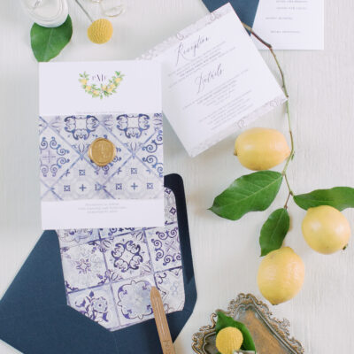 modern wedding invites, wedding invitation suite with lemons, italian inspired invitations