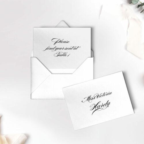 ESCORT CARDS on white