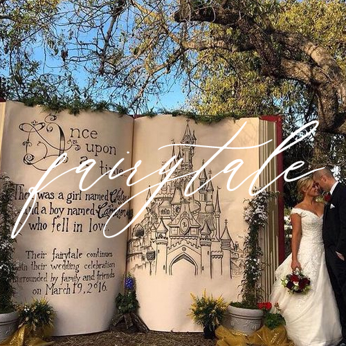 fairytale-themed wedding with giant book in background