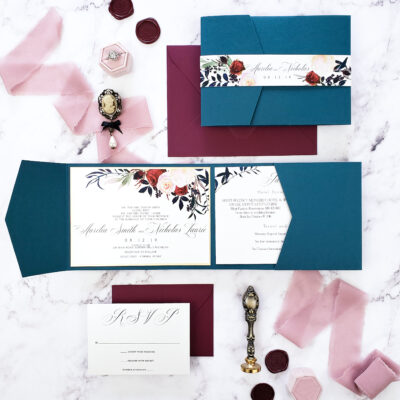 wedding invitations blue and purple with wax seals and floral bellyband