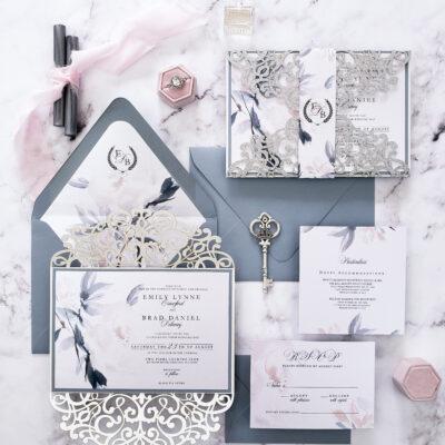 Fairy tale wedding invitations, princess wedding invitation suite, floral wedding invites lasercut invitations for wedding fairytale