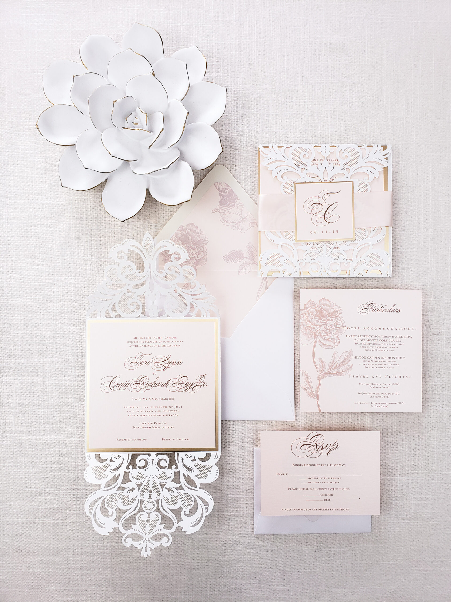 Modern Chic Wedding,Enevlopes+insert cards with printing 50pieces Gold Laser Cut Wedding Invitations,Rustic Wedding Invite,Floral optional