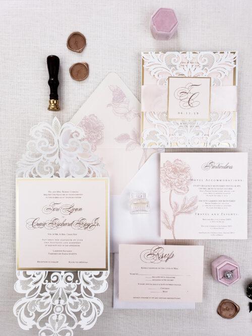 wedding invitation sample laser cut, laser cut wedding invitations blush and ivory, rustic elegant wedding invitations