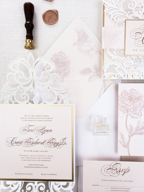 floral laser cut invitation