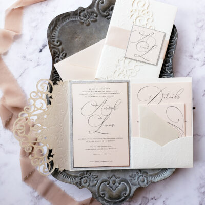 elegant laser cut pocket folder wedding invitations, elegant wedding invites blush and ivory, laser cut wedding invitation sample