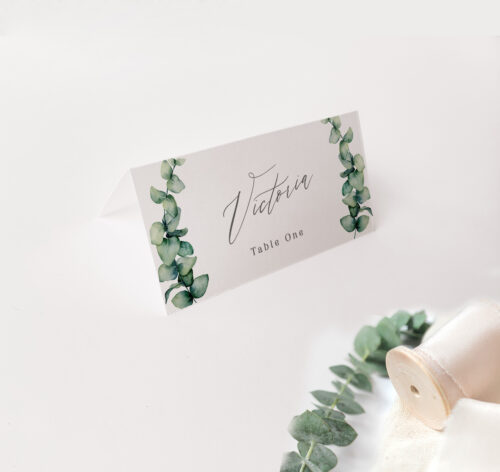 placecard with ferns