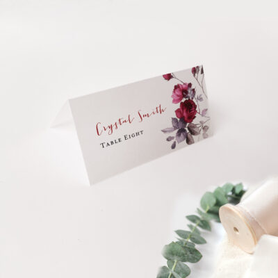 Floral placecard white