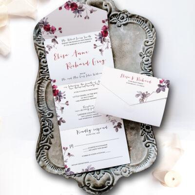 aster invitation on tray