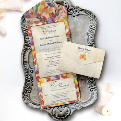 Buenos aires wedding invitation on tray