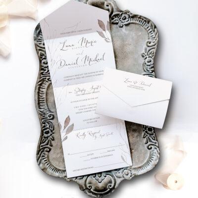 sofia wedding invitation on tray