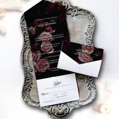 Volterra wedding invitation on tray