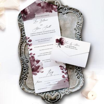 wedding invitation on tray
