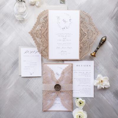 laser cut wedding invites, blush laser cut wrap wedding invitations, elegant rustic wedding invitation suite sample