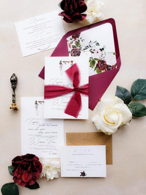 burgundy rustic wedding invitation, bohemian wedding invitation, rustic chic wedding invite, rustic wedding invitation burgundy marsala
