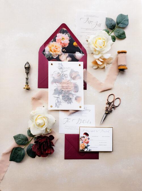 moody floral wedding invitations