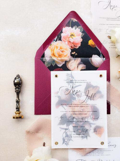 moody vellum invitations