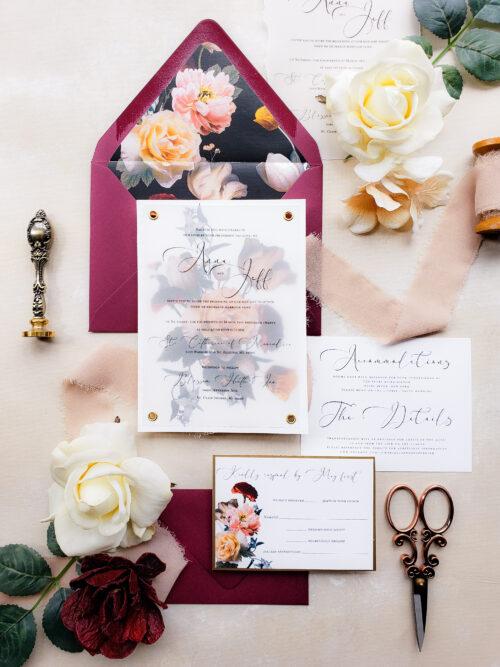 BOHO-BOHEMIAN wedding invitation suite, FAIRYTALE wedding invite, FLORAL invitation sample, moody vellum wedding invitation