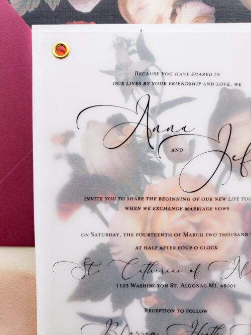 dark floral wedding invitations
