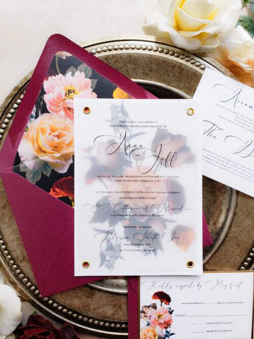 vellum overlay wedding invitation