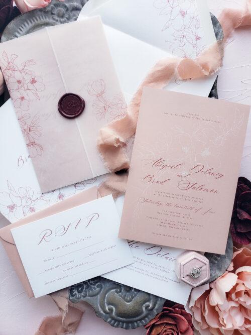 vellum blush wedding invitations