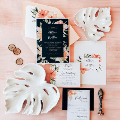 pink black and white invitation stationery collection