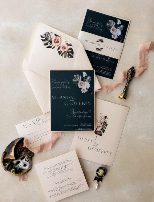 blush green wedding invitation