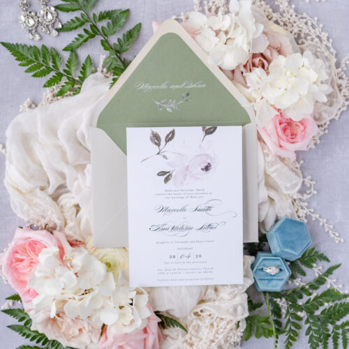 greenery wedding card